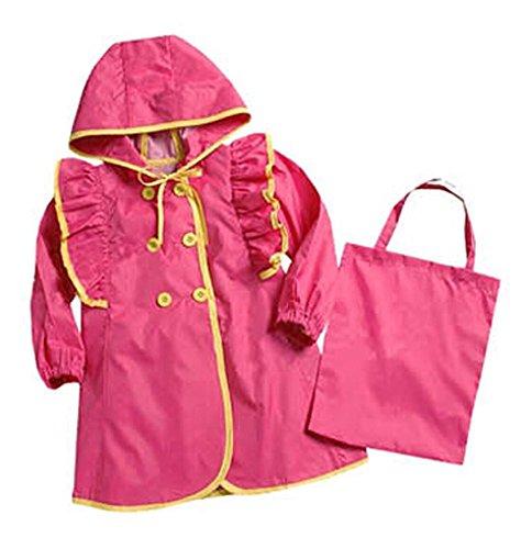 Lovely Baby-girls Robe de princesse pluie Mode enfants pluie Rose vif S