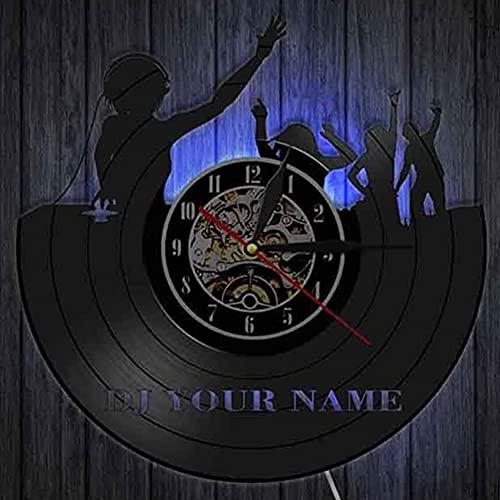 KJSWEI Reloj de Pared de Disco de Vinilo, patrón de DJ, Regalo para Hombre o Mujer, Vacaciones, cumpleaños, Regalo,Led Lights