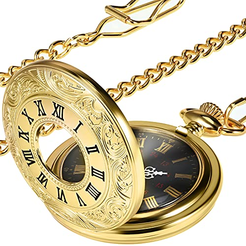 orologio da tasca uomo Vintage Oro Orologio da Tasca Acciaio Uomini Orologio con Catena