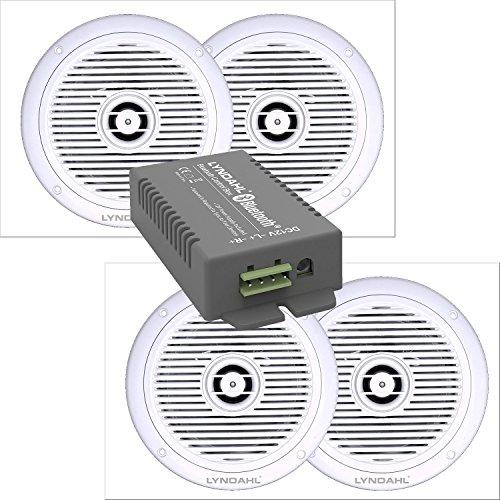 Lyndahl Lautsprecher-Set, Bluetooth Verstärker 4 Kanal CS200BT-AMP und 2-Wege Einbaulautsprecher CS180IP 2 oder 4 Deckenlautsprecher für Feuchträume Badezimmer mit 4 Lautsprechern