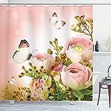 Ambesonne Duschvorhang mit Schmetterlingsmotiv, Pastellfarben, Blütenrosen mit Frühlings-Insekten, romantisch, feminin, Stoffstoff, Badezimmer-Dekorationsset mit Haken, 75 cm lang, Mehrfarbig