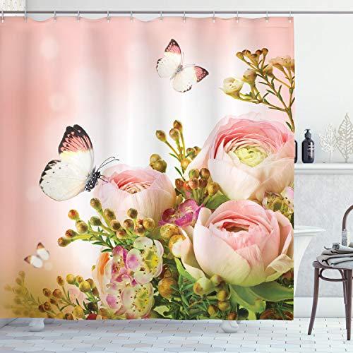ABAKUHAUS Duschvorhang, Rösener Rosen Blütenknospe Schmetterlinge Pink Leben Positivität Erweckend Lavandel Levkoje Rosa, Wasser & Blickdicht aus Stoff mit 12 Ringen Schimmel Resistent, 175 X 200 cm