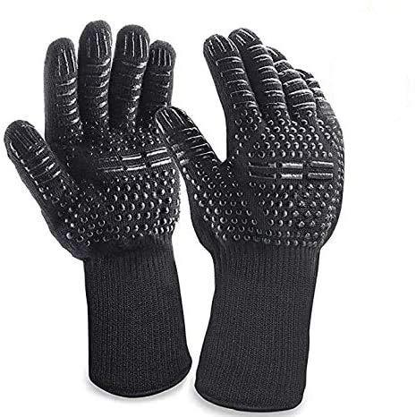 Anlising - Guantes para barbacoa, guantes para horno, guantes de piel para barbacoa, guantes de cocina, resistentes al calor hasta 800 °C, para barbacoa, cocinar, hornear y soldar, color negro
