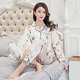 fsafa Pijama,Pijamas Blancos De Seda Satinada con Estampado De 2 Piezas para Mujer, Conjunto De Pijamas Sexis De Moda con Botones, Pijama De Invierno Suave con Tirantes, XL