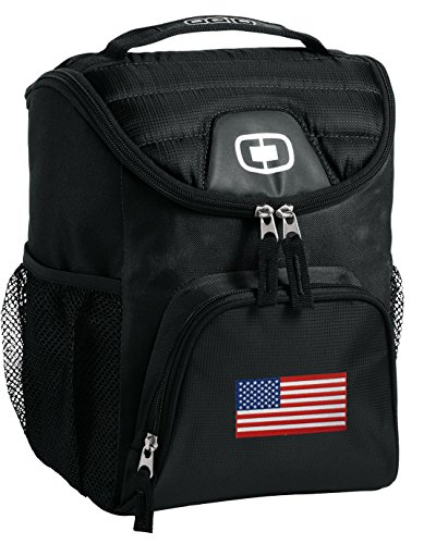 American Flag Lunch Bag Insulated Soft Cooler Black USA Flag Best Size Lunchbox