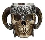 Ebros Gift Viking Ram Horned Pit Lord Warrior Skull With Battle Helmet Beer Stein Tankard Coffee Cup Mug 13oz Norse Mythology Folklore Odin Thor Loki Ragnarok Poetic Edda Decor