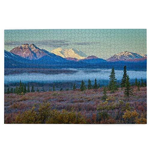1000 piezas de madera durable Rompecabezas de la mañana con niebla en el parque nacional Denali, Alaska/juguete para graduación 29.5 x 19.7 pulgadas