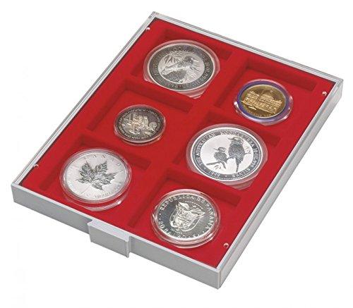 LINDNER Das Original d-Box Standard à 6 alvéoles carrés 85 x 85 mm pour Monnaies/médailles ou Autres Objets de Collection