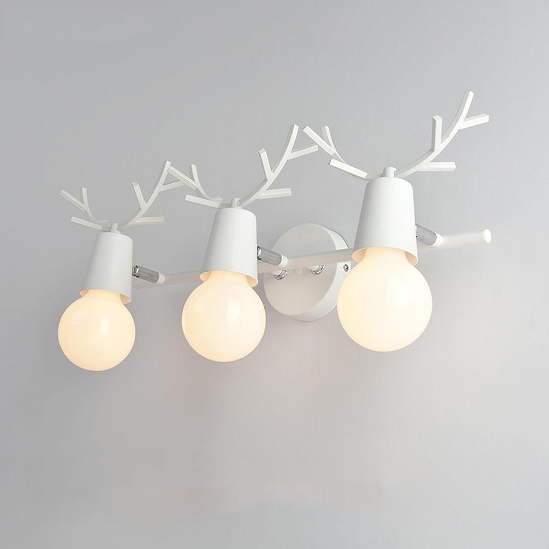 KTYX Nordischer Spiegel führte kreatives Geweihwandlampe-Badezimmerbadezimmerkabinettlampe Spiegel Frontlicht (Farbe   Wrought iron-Weiß-52  22cm)