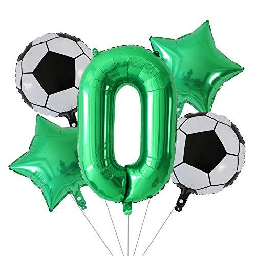 ENXI Balloon 5pcs 18inch Football Basketball Soccer Foil Balloons Set 30inch Number Globos Birthday Party Decoration Air Globos Kids Toys (Ballon Size : 18inch, Color : Green 0 set)