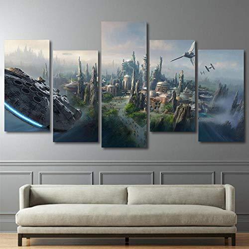 ZDDBD Póster Moderno Lienzo Cuadros Arte de Pared 5 Paneles película Star Wars para Sala de Estar decoración del hogar póster de Pintura