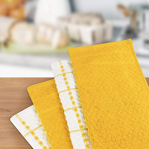 Utopia Towels Kitchen Towels, 15 x 25 Inches, 100% Ring Spun Cotton Super Soft and Absorbent Yellow Dish Towels, Tea Towels and Bar Towels, (Pack of 12)