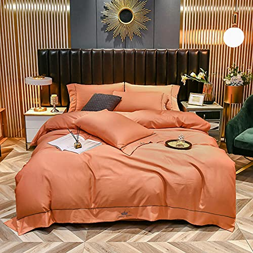 juegos de sábanas de 80,Ropa de cama de primavera y de verano, Tiansi europeo de piel de piel de piel de piel soltera de una almohada Dormitorio Bedroom Habitación infantil Regalo-Di_Cama de 2.0m (4