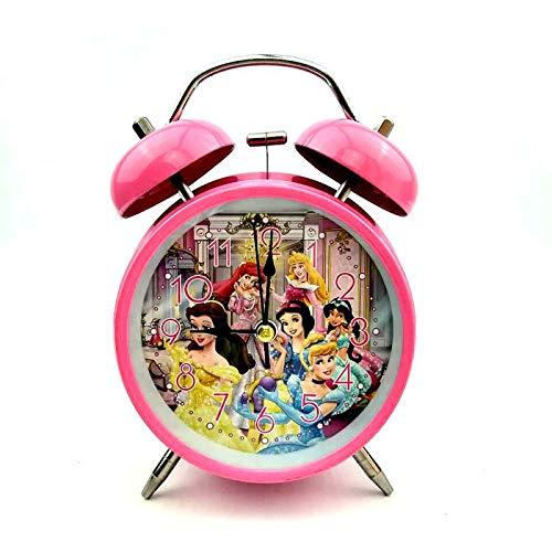 Luxuryclock Divertente, Semplice E Simpatico Cartone Animato da Comodino per Bambini in Metallo, Suoneria Notturna, Sveglia Silenziosa, Sveglia Azzurra, Piccola Sveglia, Principessa Disney 668