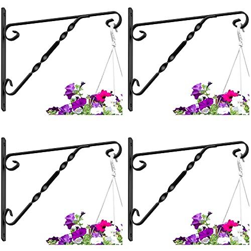 Amagabeli 4 Pack Hanging Plants Bracket 12' Outdoor Hanger Planter Hooks Flower Baskets Pot Bird Feeder Wind Chimes Lanterns Hanger Patio Lawn Garden for Indoor Wall Fence Screw Mount Arm Metal Black