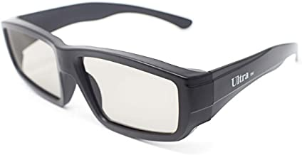 Ultra Two Pairs of Black Adults Passive 3D Glasses in a Wraparound Style Universal for All Passive TVs Cinema and Projectors Such as RealD Toshiba LG Panasonic and cinemas