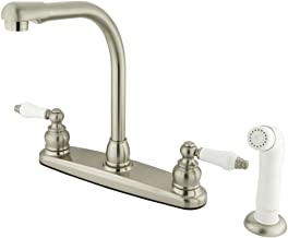 Kingston Brass KB718 Victorian High Arch Kitchen Faucet with Sprayer, Brushed Nickel