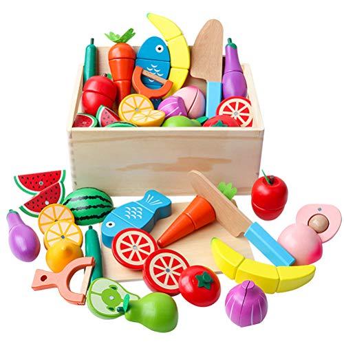FLORMOON Set de Fruta de Corte Realista Cocina Food Playset Pretender Jugar Comida 15 Piezas de Madera pintadas a Mano y 1 cajón Juguetes de Aprendizaje para el Desarrollo temprano Regalo para niños