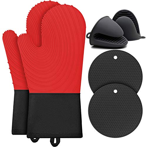 BOCHION Oven Glove Set, Silicone Heat Resistant Oven Gloves with Pot Holder and Insulation Mat, Extra Long Kitchen Double Oven Mitt for Grilling/Cooking/Baking/Barbecue, Waterproof/Non-Slip (Red)