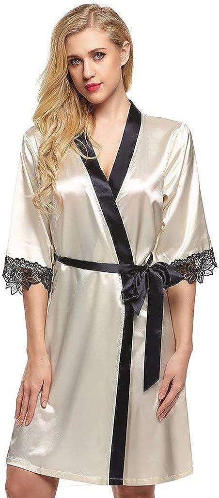 Gergeos Womens Satin Silk Pajamas Cardigan Nightdress Bathrobe Gown Women Robe Lingerie