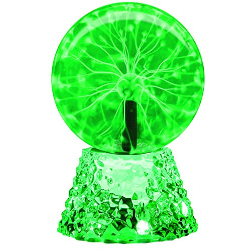 Plasma Ball, RAYWER 6 inch Touch & Sound Sensitive Plasma Globe, Nebula Novelty Lamp, Christmas, Party, Gift, Decoration (Green)
