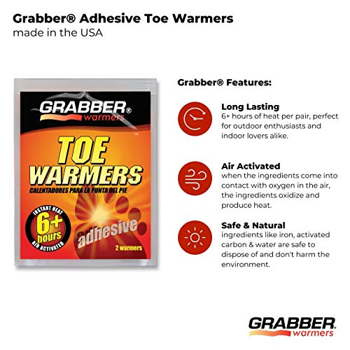 Grabber Hand Warmers - Natural Odorless Air Activated Warmers - 8 Hours of Heat - 8 Pairs