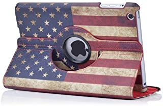 Mocase iPad Mini USA Flag Pu Leather Case with 360 Degrees Rotating Swivel Stand for Apple Ipad Mini 1/2/3 7.9 Inch Tablet (Supports Auto Sleep/Wake Features) (Red US Flag)