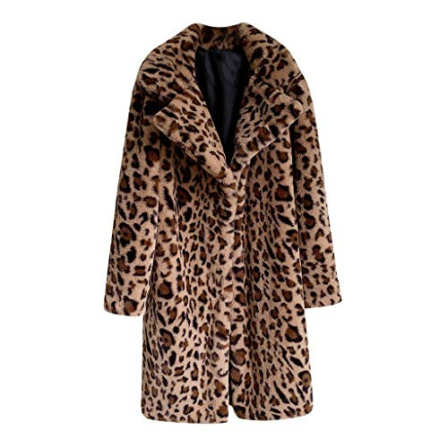 BaZhaHei Abrigo Abrigo Cordero Chaqueta de Mujer Estampado Leopardo Suelto Medio Largo...