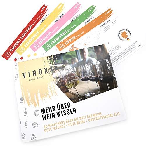 Vinox® – 50 Winecards für Weinliebhaber I Mehr über Wein wissen I Wein Tasting für zu Hause I Besonderes Wein Geschenk Set für Frauen & Männer I Made in Germany