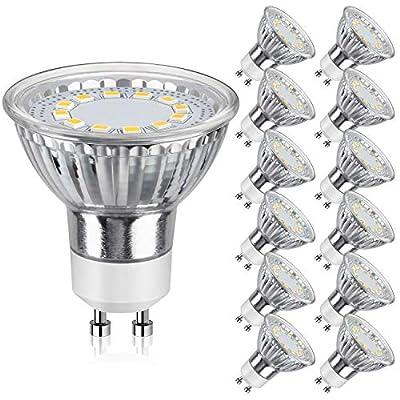 GU10 LED Bulbs 50W Halogen Equivalent, 5000K Daylight White Track Light Bulbs, 3.5W 350Lumens, CRI>85, 120 Degree Beam Angle Bulbs for Spotlight, Recessed Light, Flood Light, Non-Dimmable, Pack of 12