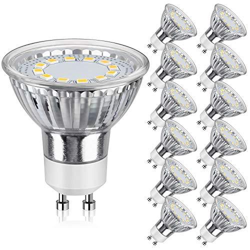 GU10 LED Bulbs 50W Halogen Equivalent, 5000K Daylight White Track Light Bulbs, 3.5W 350Lumens, CRI85, 120 Degree Beam Angle Bulbs for Spotlight, Recessed Light, Flood Light, Non-Dimmable, Pack of 12