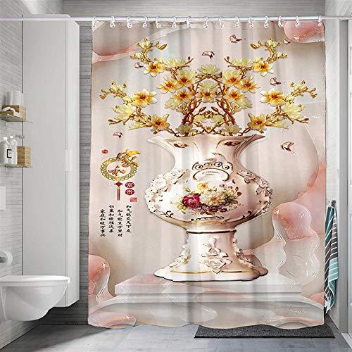 Duschvorhang Vase Duschvorhang Gewicht Polyester Stoff Wasserdicht Antibakteriell Waschbar Verstärktem Saum Mit 12 Duschvorhangringen Für Bad Und Badewanne 240X180 cm