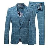 Men's Plaid Modern Fit 3-Piece Suit Blazer Jacket Tux Vest & Trousers, Blue, Medium.