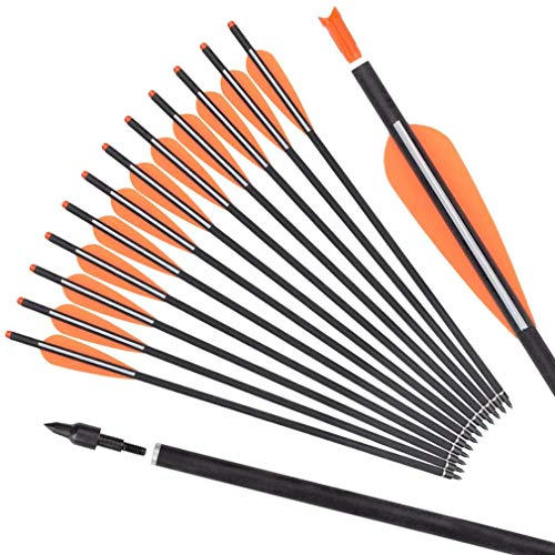 DZGN 12 Pack Carbon Crossbow Bolts 16 18 20 22 Inch Hunting Archery Arrows...