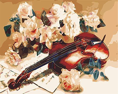 IXGMI schilderen op nummers, volwassenen bloemen viool DIY handgeschilderd olieverfschilderij op canvas kits voor kinderen met 3 borstels en acrylverf (40x50 cm, zonder lijst)