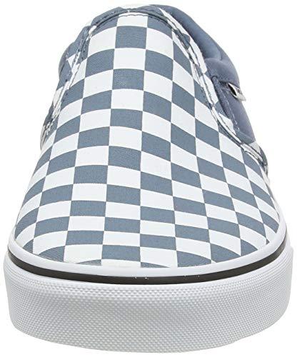 Vans Asher, Slip-on Sneaker Uomo, Multicolore ((Checkerboard) Blue Mirage/White W50), 42 EU