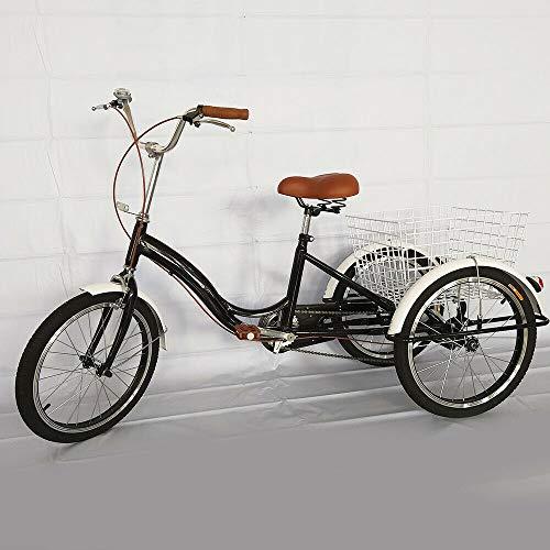Triciclo para adultos con cesta, triciclo para adultos, triciclo con 3 ruedas, bicicleta para personas mayores de 20 pulgadas