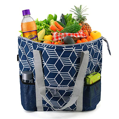 Large Insulated Bags for Hot Cold Food Carrier Transport Durable Cooler Tote Bags w Zipper Top Front Pouch Reusable Shopping Cooling Bags Geo Navy Cube Printing
