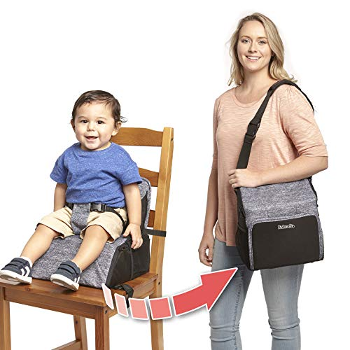 Kolcraft Travel Duo 2-in-1 Portable Booster Seat and Diaper Bag, Space Grey