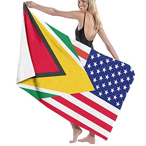Guyanese American Flag Microfiber Beach Bath Towel Quick-Drying High Absorption Oversized Towel Blanket