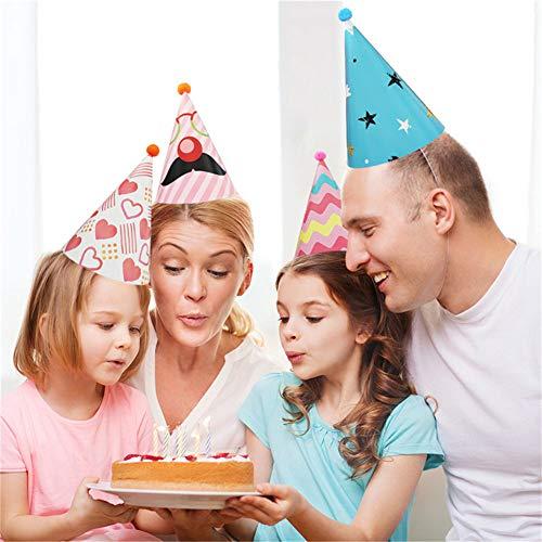 Bunte Partyhüte, 8 Stück, Partyhüte mit Plüschball, für Kindergeburtstag und Bastelarbeiten – Partyzubehör für Gruppenaktivitäten, Spiele und Dekorationen, Foto-Requisiten, Einheitsgröße