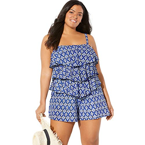 Fit 4 U Swimsuits for All Women's Plus Size Bandeau Swim Romper - 20 W, Medallion Blue