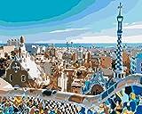 Pintar por Numeros Adultos Barcelona Ciudad Cuadros para Pintar por Numeros Pint por Número de Kits for Adultos Mayores Avanzada Niños Joven - (40x50cm, Sin Marco)