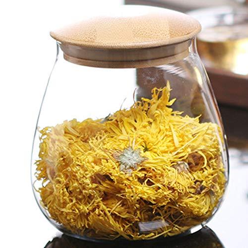 TAMUME 400ml Vorratsdosen Glas mit Deckel Glas-Küche-Aufbewahrungsglas mit Holzdeckel, Tee-Kanister oder Kaffeebohnenbehälter (400ml)