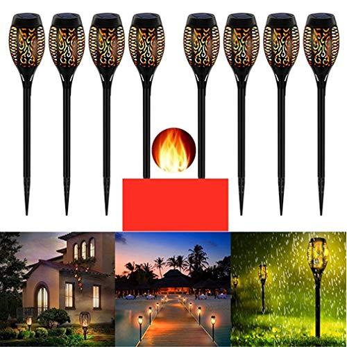 Luz solar para jardín, lámpara de llama solar a prueba de agua, antorcha de jardín al aire libre, luces de llama de baile solar, decoración al aire libre para senderos de jardín y patio (paquete de 8)