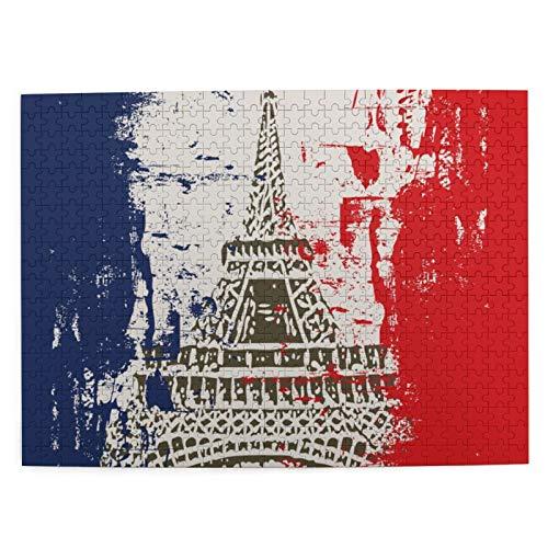MAYUES Rompecabezas Puzzle 500 Piezas Bandera Francesa de Estilo Grunge con la Ciudad de la Torre Eiffel del Amor en Colores Retro Europa Inteligencia Jigsaw Puzzles para Adultos Niños Juegos