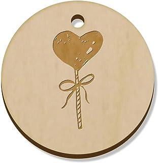11 x 34mm 'Heart Lollipop' Wooden Pendants / Charms (PN00036762)