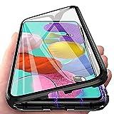 Hülle Magnetic Adsorption Handyhülle für Xiaomi Poco X3 NFC/X3 Pro, Einteiliges 360 Grad Komplettschutz Metall Bumper, Gehärtetes Glas Schutzhülle Panzerglas Folie Durchsichtige Case Cover, Schwarz