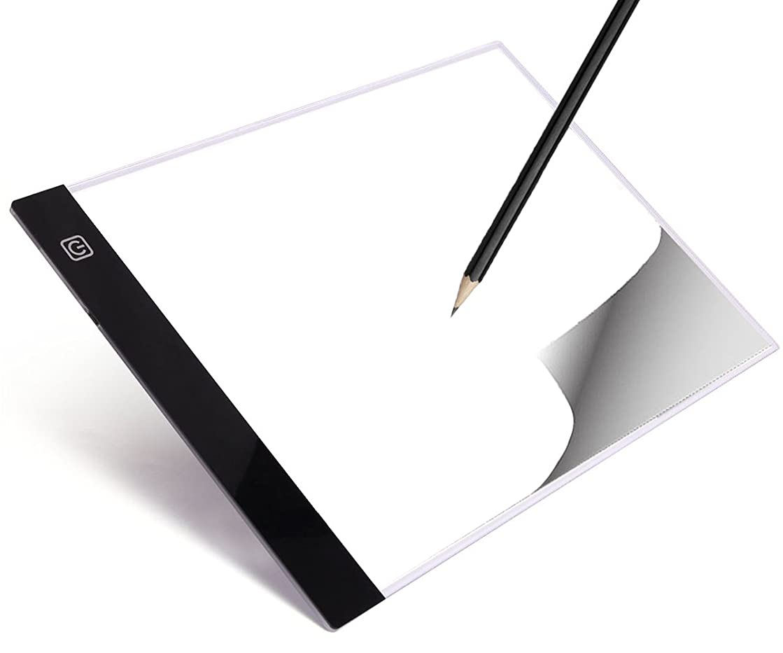 LED Tracing Light Table Portable Tracer Adjustable Illumination Panel A4 Ultra-thin 3.5mm USB Power Dimmable Artcraft Tracing Pad Box for Drawing, Designing Sketching, Animation, X-ray Viewing.