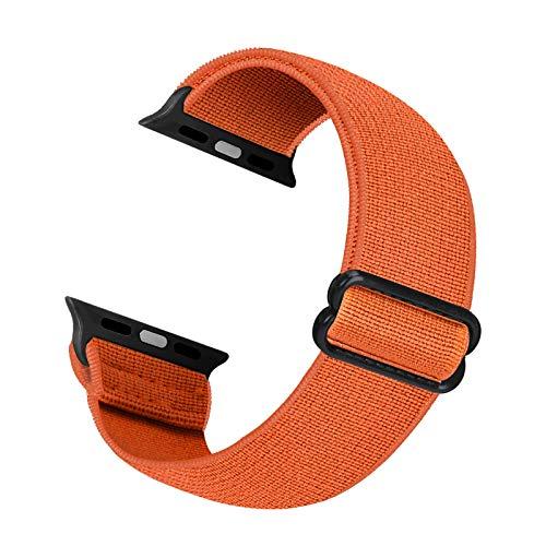 Correa de repuesto elástica Cuteeze compatible con Apple Watch Correa 38 mm 40 mm 42 mm 44 mm, correa de nailon suave para iWatch Series 6, 5, 4, 3, 2, 1, SE (Naranja, 38/40mm)